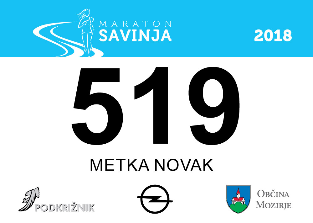 Maraton Savinja 2018 - štartna številka - vzorec